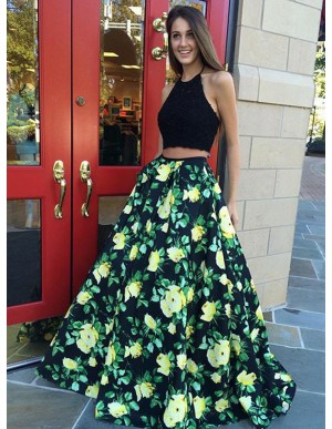 Two Piece Halter Floral Black Satin Prom Dress with Lace Pleats