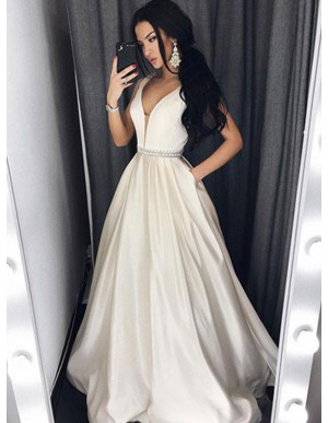 A-Line V-Neck Ivory Satin Beaded Long Simple Prom Dress with Pockets