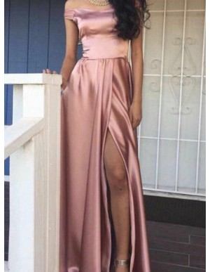 Sheath Off-the-Shoulder Slit Legs Simple Blush Prom Dress