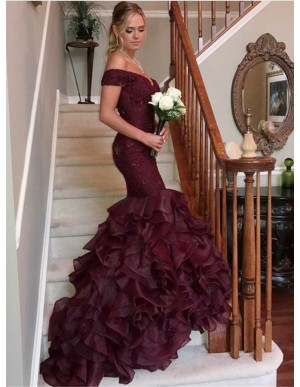 Mermaid Off the Shoulder Burgundy Prom Dress