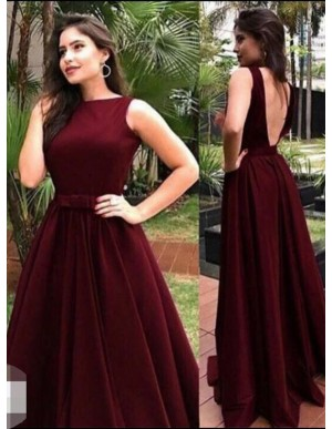 A-Line Boat Neck Floor-Length Burgundy Satin Prom Dress with Sash