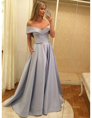 A-Line Off-the-Shoulder Light Blue Satin Prom Dress with Sash Pockets