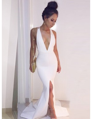 Mermaid Deep V-Neck Criss-Cross Straps Slit Leg White Prom Dress with Sashes