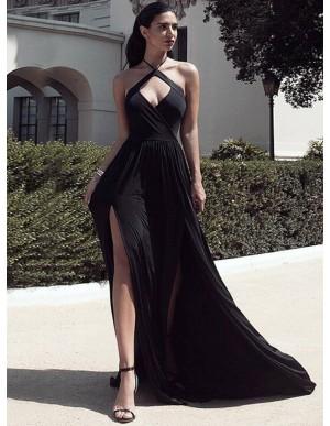 A-Line Halter Keyhole Sweep Train Black Chiffon Simple Prom Dress