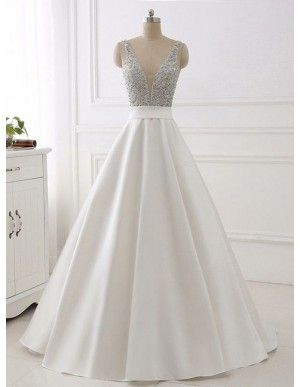 Ball Gown Deep V-Neck Sweep Train White Satin Prom Dress with Beading