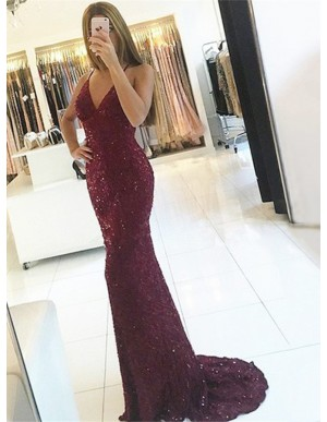 Mermaid Spaghetti Straps Backless Burgundy Lace Prom Dress with Sequins