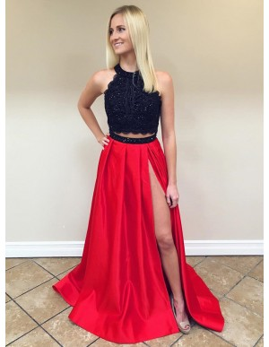 Two Piece Round Red Slit Leg Beaded Satin Prom Dress with Lace