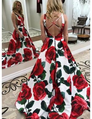 A-Line Deep V-Neck Criss-Cross Straps Floral Satin Prom Dress