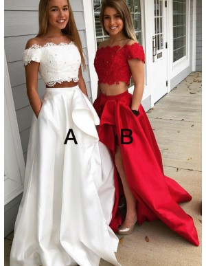 High Low Two Piece Off-the-Shoulder Split Prom Dress with Pockets
