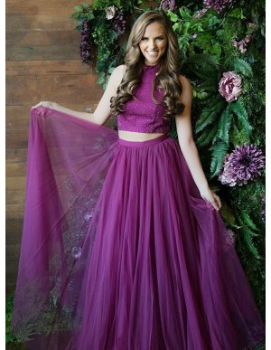 Two Piece Round Grape Slit Legs Tulle Prom Dress with Sequins