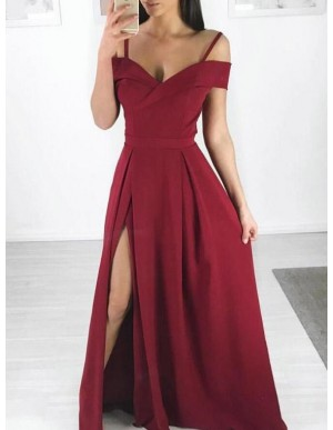 A-Line Spaghetti Straps Simple Dark Red Prom Dress with Split