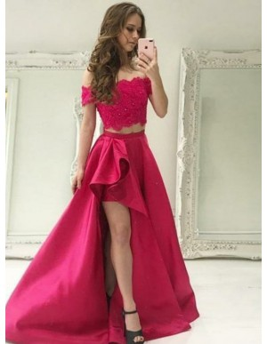 High Low Two Piece Off-the-Shoulder Split Long Prom Dress with Pockets