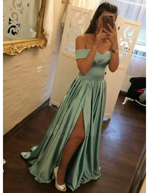 A-Line Off-the-Shoulder Turquoise Slit Leg Prom Dress with Pleats