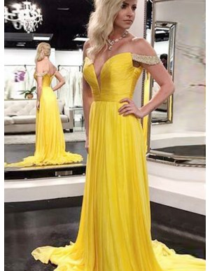 A-Line Off-the-Shoulder Yellow Slit Leg Chiffon Prom Dress with Beading