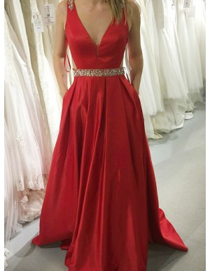 A-Line V-Neck Backless Dark Red Satin Prom Dress with Beading