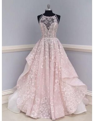 A-Line Round Sweep Train Pink Lace Prom Dress with Pleats