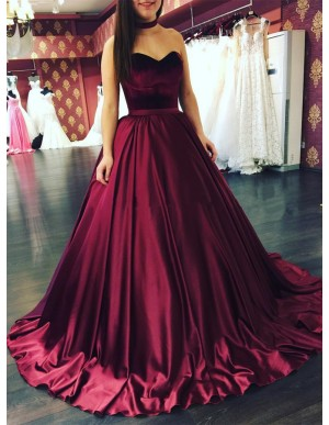 Ball Gown Sweetheart Sweep Train Burgundy Satin Prom Dress with Pleats