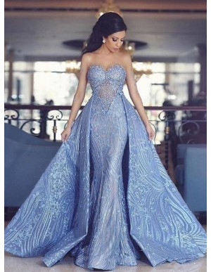 Mermaid Sweetheart Detachable Train Blue Prom Dress with Appliques