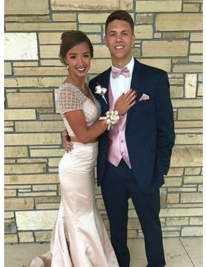 Two Piece Mermaid V-Neck Short Sleeves Champagne Prom Dress with Beading