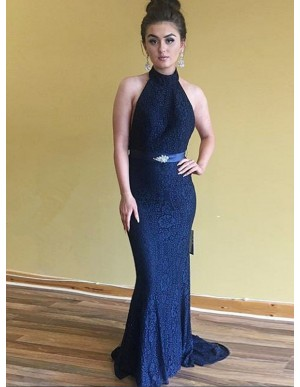 Mermaid Halter Backless Navy Blue Prom Dress with Sashes Beading