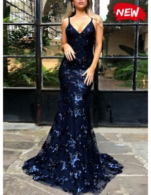 Mermaid Sexy Backless Dark Blue Lace Prom dress with Train