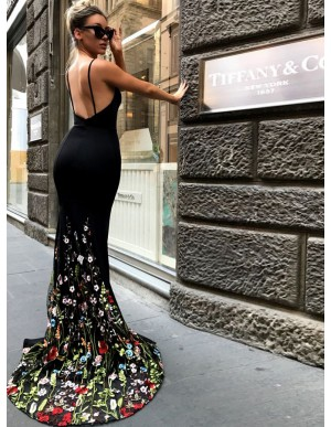 Mermaid Spaghetti Straps Backless Sexy Black Prom dress