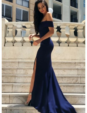 Mermaid Off-the-Shoulder Slit Leg Navy Blue Prom Dress with Sleeves
