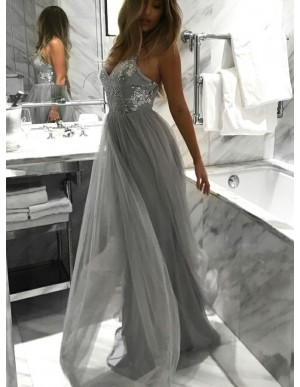 A-Line Spaghetti Straps Long Grey Prom Dress with Sequins