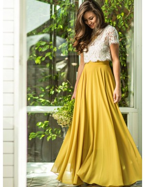 Two Piece Short Sleeves Yellow Prom Dress with Lace Top