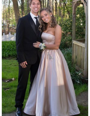 A-Line Strapless Champagne Prom Dress with Beading Pockets