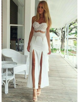 Sheath Spaghetti Straps Slit Legs Sexy Prom Dress with Lace