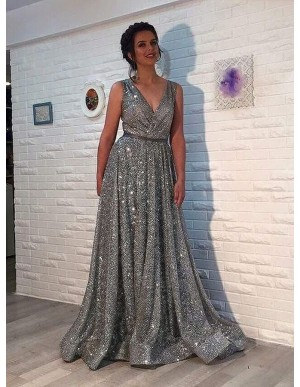 A-Line Deep V-Neck Sweep Train Grey Sparkle Sequined Prom Dress