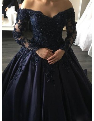 Ball Gown Off-the-Shoulder Long Sleeves Navy Blue Gorgeous Prom Dress