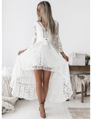 High Low V-Neck 3/4 Sleeves Short Gorgeous White Lace Prom Homecoming Dress