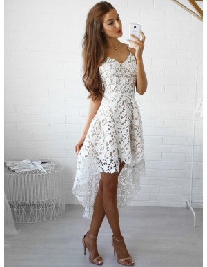 High Low Spaghetti Straps Gorgeous White Lace Homecoming Dress