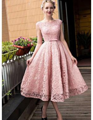 A-Line Bateau Tea-Length Pink Homecoming Dress with Sashes Lace Prom Dress