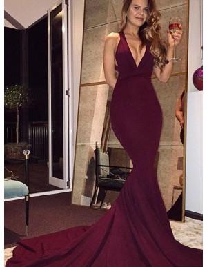 Mermaid Deep V-Neck Criss-Cross Straps Court Train Burgundy Satin Prom Dress