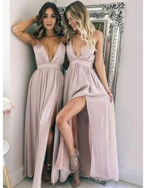 A-Line Deep V-Neck Floor-Length Blush Chiffon Prom Dress with Split