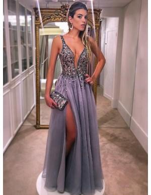 A-Line Deep V-neck Slit Leg Beaded Sexy Grey Prom Dress