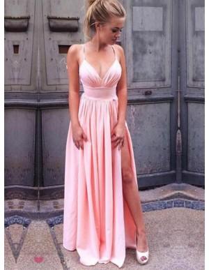 A-Line Spaghetti Straps Slit Leg Pink Prom Dress with Pleats