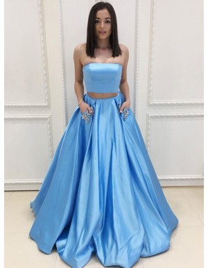 Two Piece Strapless Blue Satin Prom Dress with Beading Pockets