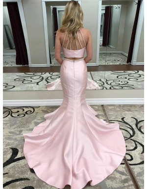 Two Piece Jewel Sweep Train Pink Satin Prom Dress with Beading