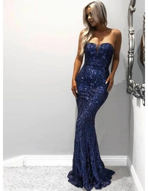 Mermaid Strapless Sweep Train Royal Blue Lace Prom Dress with Sequins