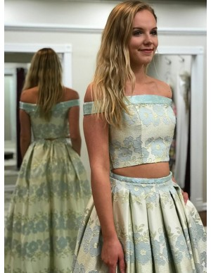 Two Piece Off-the-Shoulder Mint Printed Prom Dress with Pockets Pleats