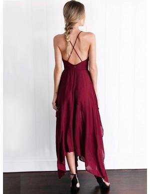 A-Line Deep V-Neck Criss-Cross Straps Asymmetrical Burgundy Prom Dress