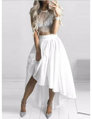 Two-Piece Jewel Cap Sleeves Hi-Lo White Prom/Homecoming Dress with Lace