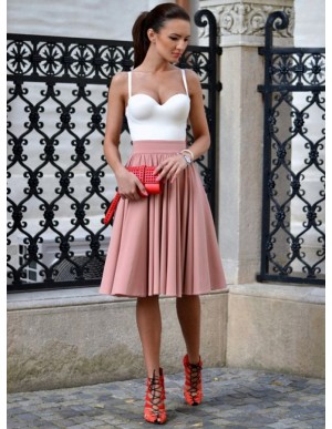 A-Line Spaghetti Straps Knee-Length Blush Homecoming Dress with Pleats
