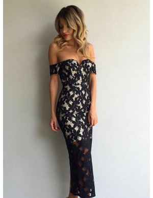 Mermaid Off-the-Shoulder Ankle-Length Navy Blue Lace Prom Dress