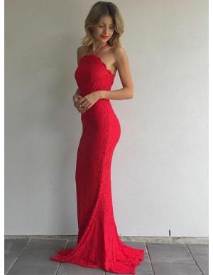 Mermaid Spaghetti Straps Sweep Train Red Lace Prom Dress