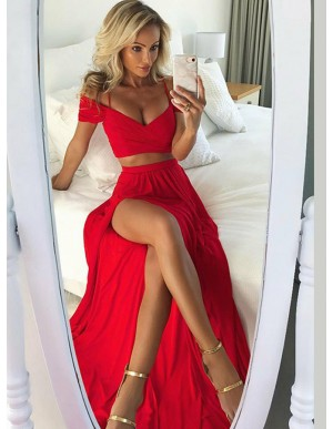 Two Piece Off-the-Shoulder Slit Legs Red Sexy Prom Dress